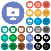FTP home directory multi colored flat icons on round backgrounds. Included white, light and dark icon variations for hover and active status effects, and bonus shades on black backgounds. - FTP home directory round flat multi colored icons