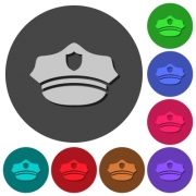 Police hat icons with shadows on color round backgrounds for material design - Police hat icons with shadows on round backgrounds