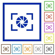 Camera aperture setting flat color icons in square frames on white background - Camera aperture setting flat framed icons