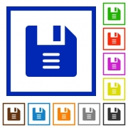 File options flat color icons in square frames on white background - File options flat framed icons