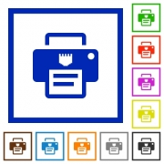 IP printer flat color icons in square frames on white background - IP printer flat framed icons