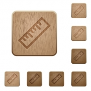 Ruler on rounded square carved wooden button styles - Ruler wooden buttons