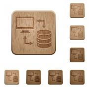 Syncronize data with database on rounded square carved wooden button styles - Syncronize data with database wooden buttons
