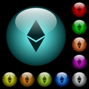 Ethereum digital cryptocurrency icons in color illuminated spherical glass buttons on black background. Can be used to black or dark templates - Ethereum digital cryptocurrency icons in color illuminated glass buttons
