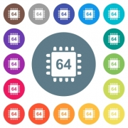 Microprocessor 64 bit architecture flat white icons on round color backgrounds. 17 background color variations are included. - Microprocessor 64 bit architecture flat white icons on round color backgrounds