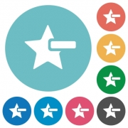 Remove star flat white icons on round color backgrounds - Remove star flat round icons