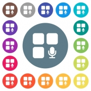 Component recording flat white icons on round color backgrounds. 17 background color variations are included. - Component recording flat white icons on round color backgrounds
