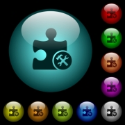 Plugin tools icons in color illuminated spherical glass buttons on black background. Can be used to black or dark templates - Plugin tools icons in color illuminated glass buttons