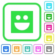 Smiley vivid colored flat icons in curved borders on white background - Smiley vivid colored flat icons