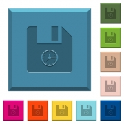 File time engraved icons on edged square buttons in various trendy colors - File time engraved icons on edged square buttons