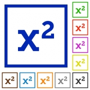 Math exponentiation flat color icons in square frames on white background - Math exponentiation flat framed icons
