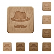 Incognito with mustache on rounded square carved wooden button styles - Incognito with mustache wooden buttons