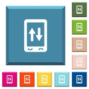 Mobile data traffic white icons on edged square buttons in various trendy colors - Mobile data traffic white icons on edged square buttons