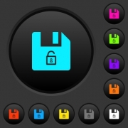 Unlock file dark push buttons with vivid color icons on dark grey background - Unlock file dark push buttons with color icons