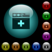 browser add new tab icons in color illuminated spherical glass buttons on black background. Can be used to black or dark templates - browser add new tab icons in color illuminated glass buttons