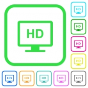 HD display vivid colored flat icons in curved borders on white background - HD display vivid colored flat icons