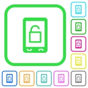 Smartphone unlock vivid colored flat icons in curved borders on white background - Smartphone unlock vivid colored flat icons