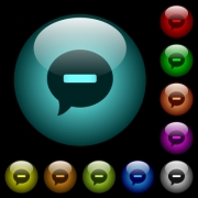 Delete comment icons in color illuminated spherical glass buttons on black background. Can be used to black or dark templates - Delete comment icons in color illuminated glass buttons