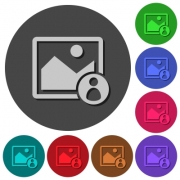 Image owner icons with shadows on color round backgrounds for material design - Image owner icons with shadows on round backgrounds
