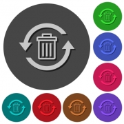 Undelete icons with shadows on color round backgrounds for material design - Undelete icons with shadows on round backgrounds