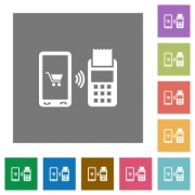 Mobile payment flat icons on simple color square backgrounds - Mobile payment square flat icons