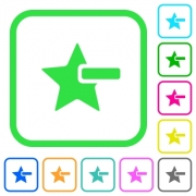 Remove star vivid colored flat icons in curved borders on white background - Remove star vivid colored flat icons