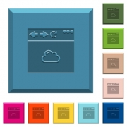 Browser cloud engraved icons on edged square buttons in various trendy colors - Browser cloud engraved icons on edged square buttons