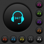 Call center dark push buttons with vivid color icons on dark grey background - Call center dark push buttons with color icons