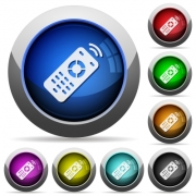Working remote control icons in round glossy buttons with steel frames - Working remote control round glossy buttons