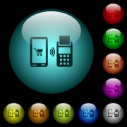 Mobile payment icons in color illuminated spherical glass buttons on black background. Can be used to black or dark templates - Mobile payment icons in color illuminated glass buttons