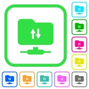 FTP data traffic vivid colored flat icons in curved borders on white background - FTP data traffic vivid colored flat icons