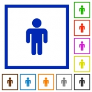 Male sign flat color icons in square frames on white background - Male sign flat framed icons