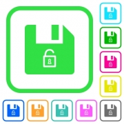 Unlock file vivid colored flat icons in curved borders on white background - Unlock file vivid colored flat icons