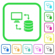 Syncronize data with database vivid colored flat icons in curved borders on white background - Syncronize data with database vivid colored flat icons