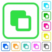Subtract shapes vivid colored flat icons in curved borders on white background - Subtract shapes vivid colored flat icons