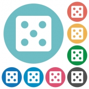 Dice five flat white icons on round color backgrounds - Dice five flat round icons