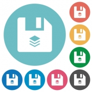 Multiple files flat white icons on round color backgrounds - Multiple files flat round icons