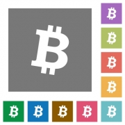 Bitcoin digital cryptocurrency flat icons on simple color square backgrounds - Bitcoin digital cryptocurrency square flat icons