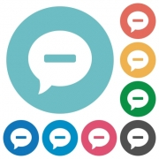 Delete comment flat white icons on round color backgrounds - Delete comment flat round icons