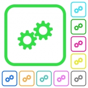 Collaboration vivid colored flat icons in curved borders on white background - Collaboration vivid colored flat icons