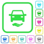 Car insurance vivid colored flat icons in curved borders on white background - Car insurance vivid colored flat icons