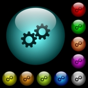 Collaboration icons in color illuminated spherical glass buttons on black background. Can be used to black or dark templates - Collaboration icons in color illuminated glass buttons