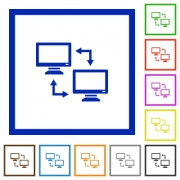 Data syncronization flat color icons in square frames on white background