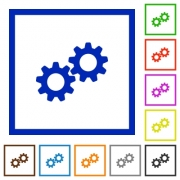 Collaboration flat color icons in square frames on white background - Collaboration flat framed icons