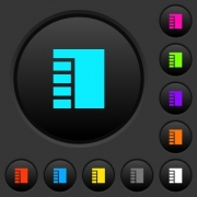 Vertical tabbed layout active dark push buttons with vivid color icons on dark grey background - Vertical tabbed layout active dark push buttons with color icons
