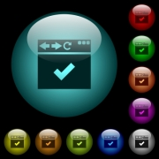 Browser ok icons in color illuminated spherical glass buttons on black background. Can be used to black or dark templates - Browser ok icons in color illuminated glass buttons