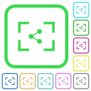 Camera share image vivid colored flat icons in curved borders on white background - Camera share image vivid colored flat icons