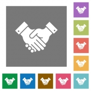 Partnership flat icons on simple color square backgrounds - Partnership square flat icons