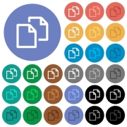 Copy document multi colored flat icons on round backgrounds. Included white, light and dark icon variations for hover and active status effects, and bonus shades on black backgounds. - Copy document round flat multi colored icons