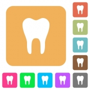Single tooth flat icons on rounded square vivid color backgrounds. - Single tooth rounded square flat icons